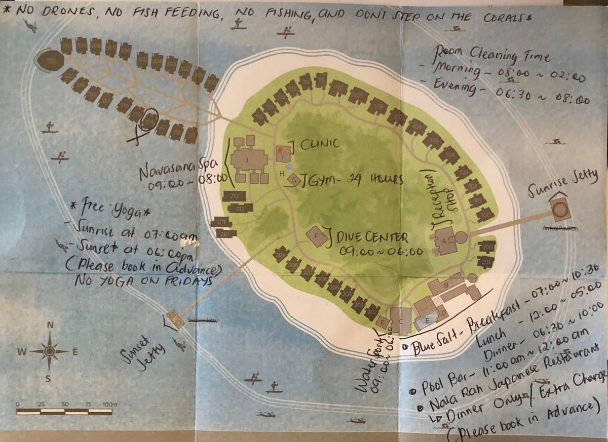 アウトリガーコノッタモルディブのリゾートマップ